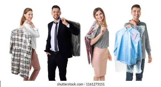 Set with people and clothes in plastic bags on white background. Dry-cleaning service