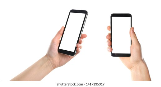 Set with people holding smartphones on white background, closeup of hands. Space for text