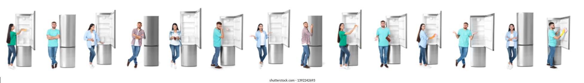 Set of people near modern refrigerators on white background