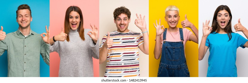 Set of people over colorful backgrounds showing ok sign and thumb up gesture - Shutterstock ID 1482413945