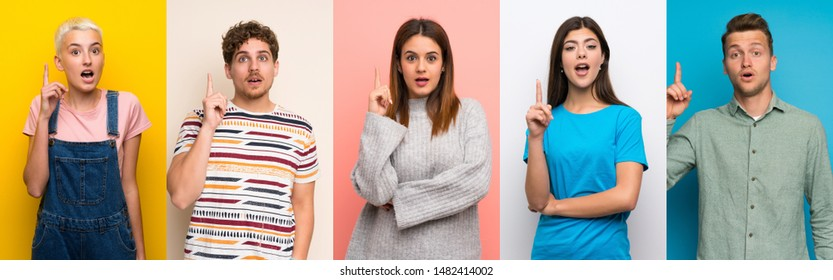 Set of people over colorful backgrounds thinking an idea pointing the finger up - Shutterstock ID 1482414002