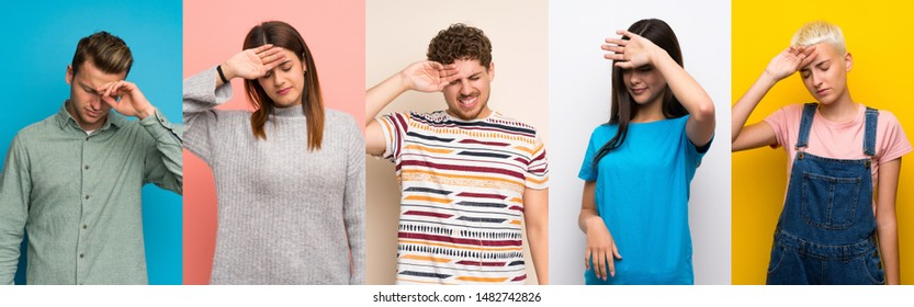 Set of people over colorful backgrounds with tired and sick expression - Shutterstock ID 1482742826
