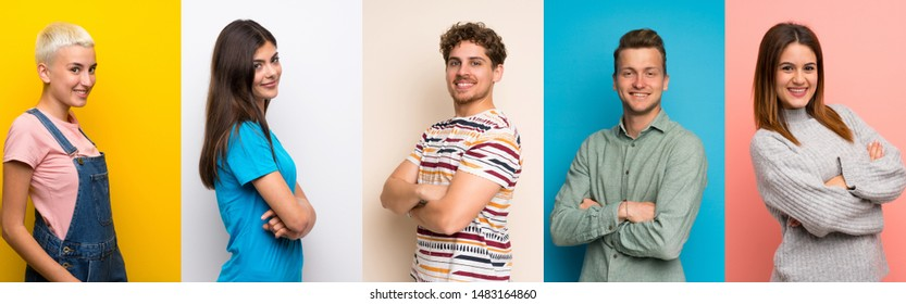Set of people over colorful backgrounds with arms crossed and looking forward
