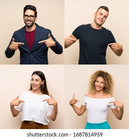 Set of people over isolated background proud and self-satisfied