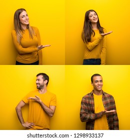 Set of people presenting an idea while looking smiling towards