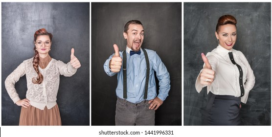 Set of people showing thumbs up on blackboard background