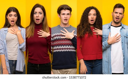 Set of people surprised and shocked while looking right