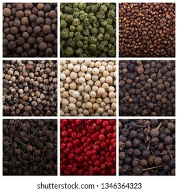 set of peppercorns background. different peppercorns collage