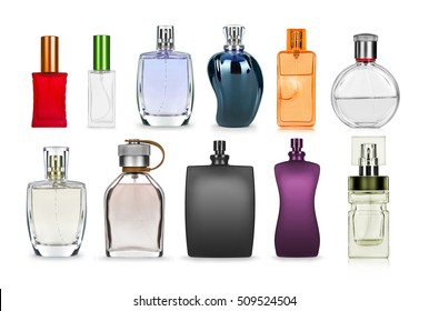 set of perfume bottle isolated on white background