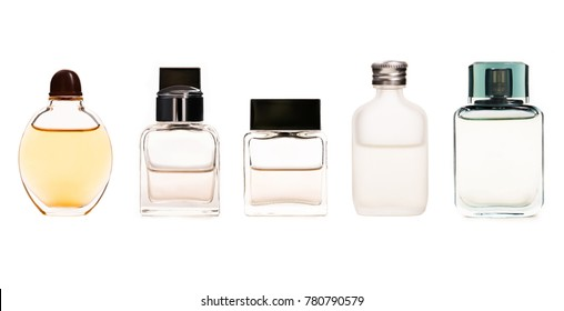 Set of Perfume bottle isolated on white background.