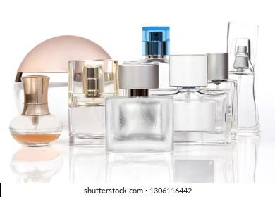 set perfume spray bottle with atomizer, isolated on white background
