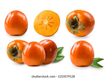 Set of persimmons Sharon. Persimmon with copy space for text. Orange ripe persimmon isolated on white background. Fresh persimmon Sharon on white. Persimmon fruit isolated on white background.
