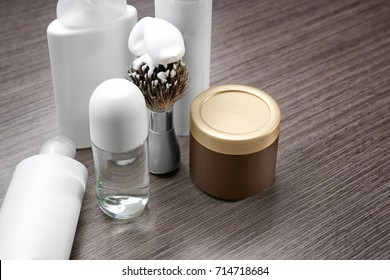Set for personal care with deodorant on wooden table