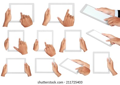 set photo of a tablet held by hands isolated on white background