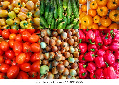 Set of photographs of vegetables: red tomatoes, cucumbers, onions, orange tomatoes and yellow bell peppers.