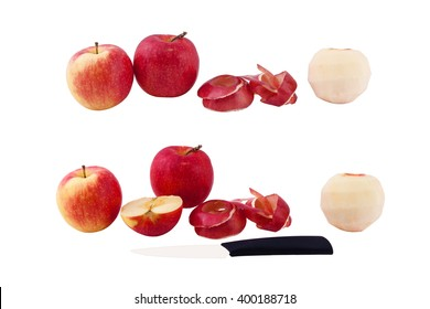 set of photos apples, peeled apple skin of the apple, cut apple, knife on a white background