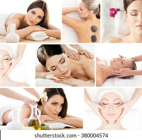 Set of photos with beautiful, relaxed women having massaging procedures in spa.