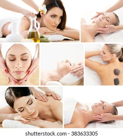 Set of photos with beautiful women having different types of massage.