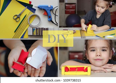 Set of photos connected like tutorial how to do a doll sofa with match boxes together with children, DIY concept