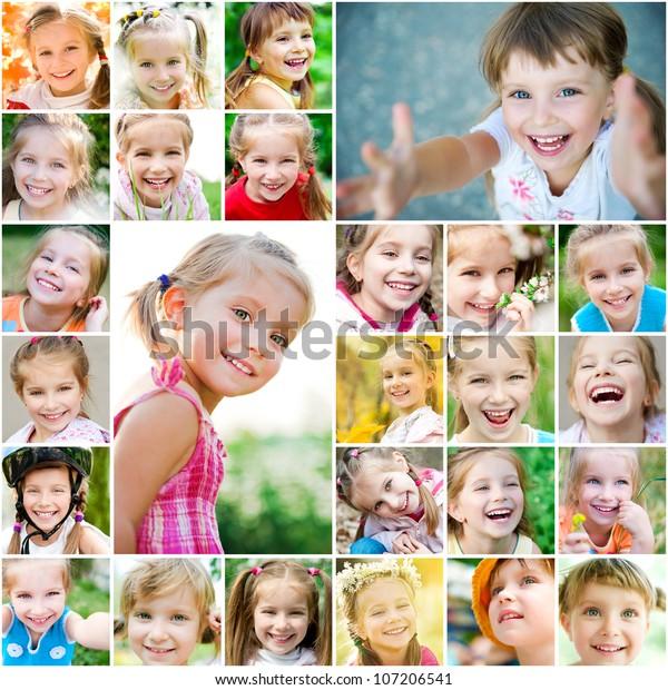 Set photos of a cute little girl