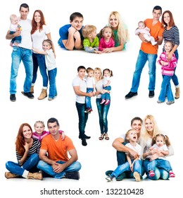 set photos of a happy smiling families isolated on white background