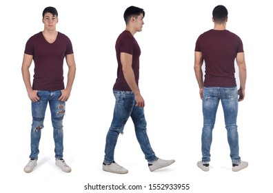set of photos of a man in various poses in white background