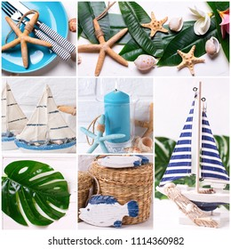 Set  photos with ocean or coastal living decorations. Decorative wooden boat,  star fish, green tropical leaf, blue candle and decorative fish on light textured  background.