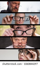 Set of photos of people men and women with glasses. Concept of having problems with eyes and eyesight