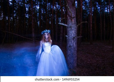 set of photos wandering ghost of a dead bride blurry motion in the night forest