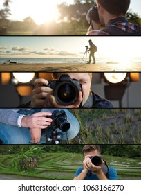 Set of photos. Young caucasian man making photo of landscape on seaside, in park and in studio. Concept of hobby or working as photographer