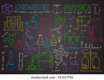 Set of physical and chemical equipment. Hand drawing icons on the chalkboard. Vintage background. Linear illustration.  Back to School.