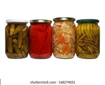 set pickles, cayenne pepper, mixed salad, chillies, winter stores, isolated on white background