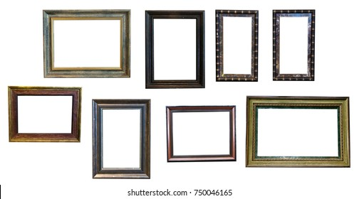 Set picture borders Frame design. Collection picture borders Frames edges. Retro border set of wooden vintage frame isolated on white background square. Vintage frames retro Set