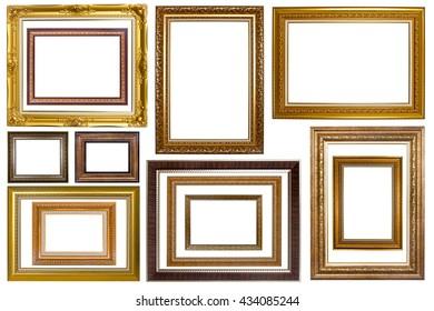 Conjunto de marcos de imagen. Galería de arte fotográfico aislada de fondo blanco.