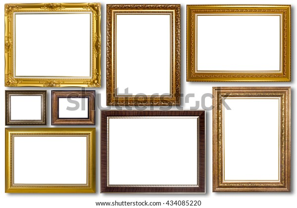 Set of picture frame. Photo art gallery isolated on white background.