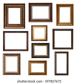 Set of picture frames. Collage of different canvas painting frames isolated on white background