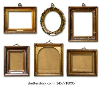 Set of picture gold wooden frame on white isolated background