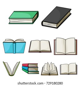 A set of pictures with books. Books, notebooks, studies. Books icon in set collection on cartoon style bitmap, raster symbol stock illustration.