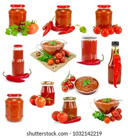Set of pictures of ketchup and hot sauce in a glass sauceboat, jar, bottle, pottery, with spicy chili peppers, tomatoes isolated on a white background