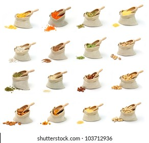 Set of pictures on cereal and nuts in sacks on white background.