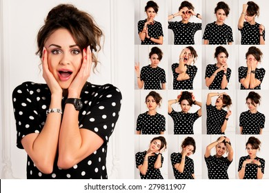 Set of pictures of pretty young woman with different gestures and emotions isolated on white background
