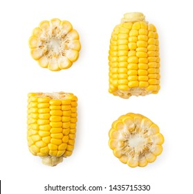 Set of pieces of corn on a white background, isolated. The view of the top.