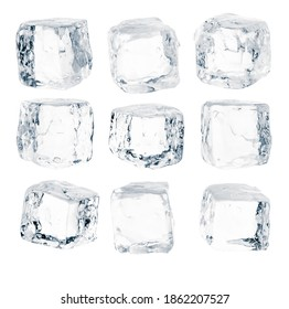 Set of pieces of pure blue natural crushed ice. Ice cubes. Clipping path for each cube included. - Shutterstock ID 1862207527