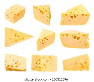 set from pieces of yellow medium-hard cow's milk swiss cheese with internal holes isolated on white background
