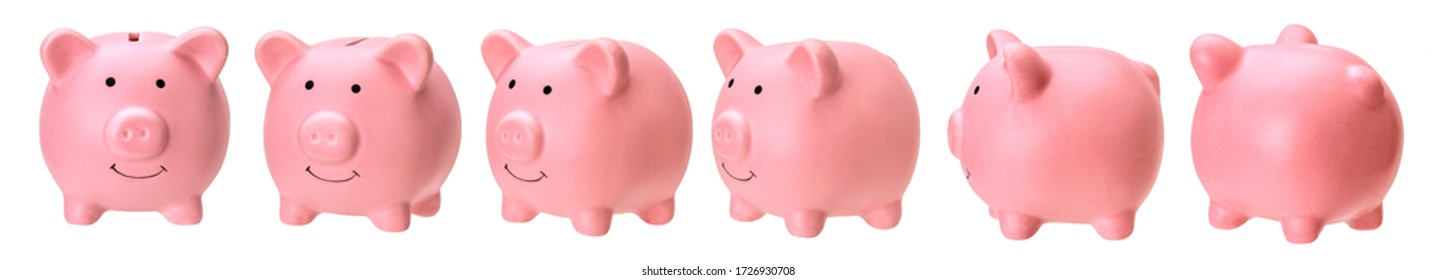 Set of piggy banks from different sides isolated on white background.