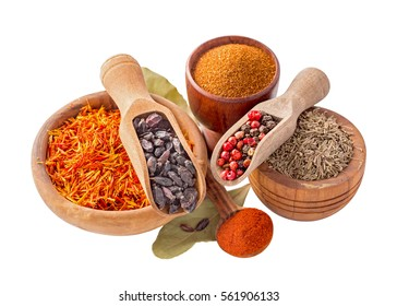Set of pilaf and other rice meals cooking spices. Barberry, cumin (zira), saffron, pepper and paprika