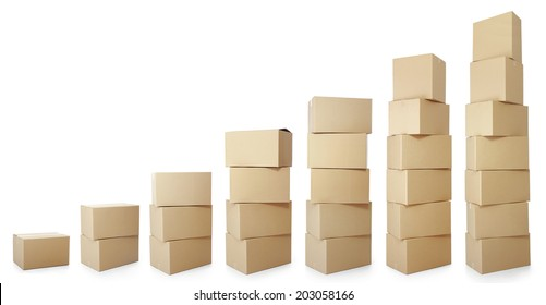 set piles of cardboard boxes on a white background