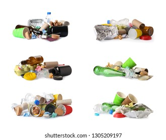 Set of piles with different garbage on white background. Trash recycling