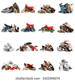 Set with piles of different shoes on white background