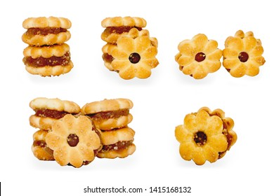 Set of Pineapple Cookies, Pineapple Biscuits Snack isolated on white background